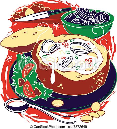 Eps vectores de almeja sopa de pescado estilizado arte for Cuisiner des palourdes