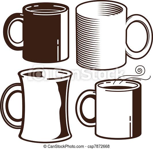 Coffee Mugs Drawing Coffee Mugs Csp7872668