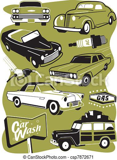 Retro Auto Clip Art - csp7872671