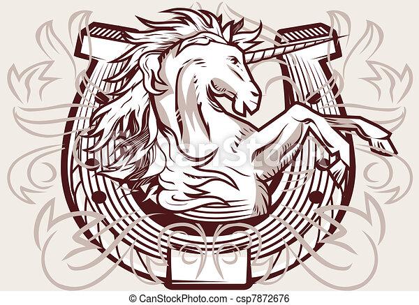 Clip art vecteur de licorne fer cheval cr te moyen ge - Fer a cheval dessin ...