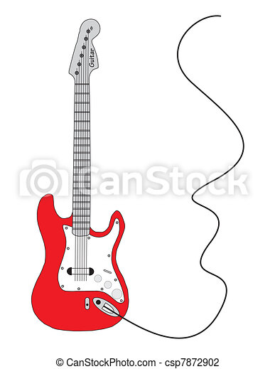 Red vector electrical guitar - csp7872902