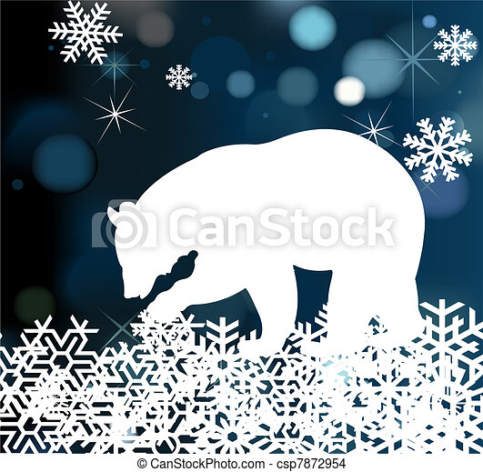 Bear in winter background vector - csp7872954