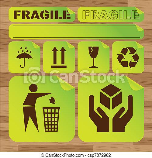 Safety fragile sticker icon set - csp7872962
