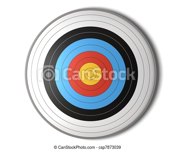 face view of an archery target over a white background with shadow - csp7873039