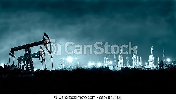 Pump jack and grangemouth refinery at night. - csp7873108