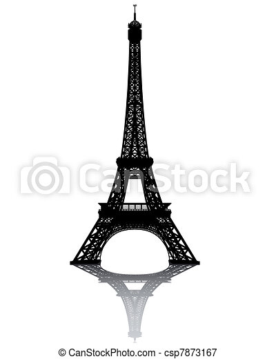 black silhouette of the Eiffel Tower - csp7873167