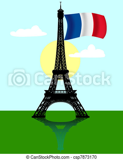 Eiffel tower with the flag of France - csp7873170