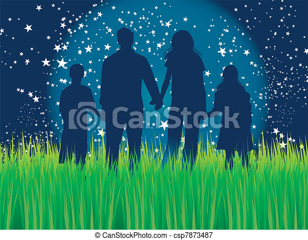 Family walking in moonlight - csp7873487