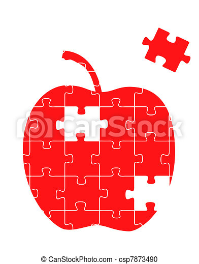 Red apple with a piece puzzle - csp7873490