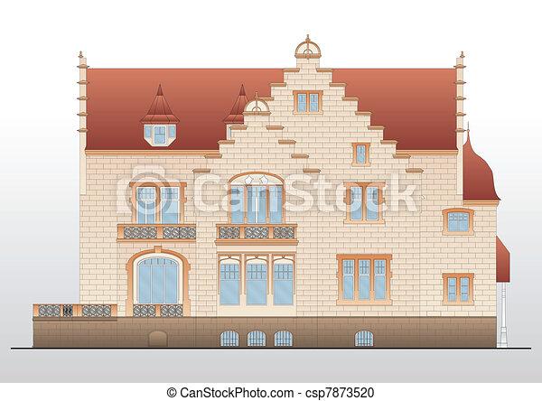Vintage house architectural plan - csp7873520