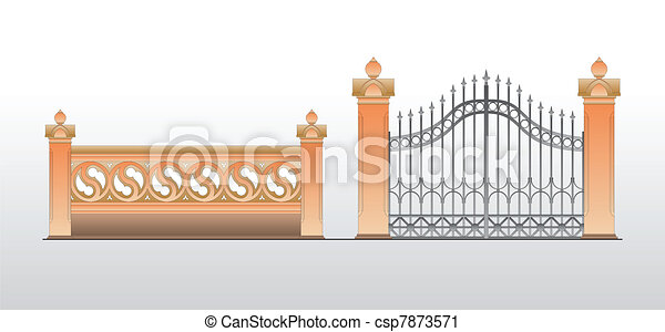 Vintage gates for house territory - csp7873571