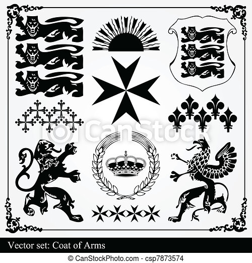 Silhouettes of heraldic elements - csp7873574