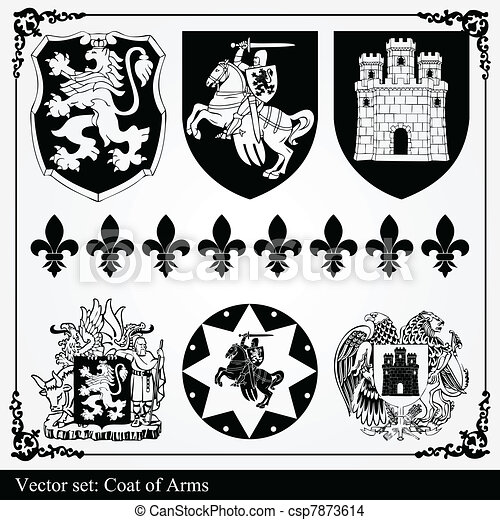 Silhouettes of heraldic elements - csp7873614