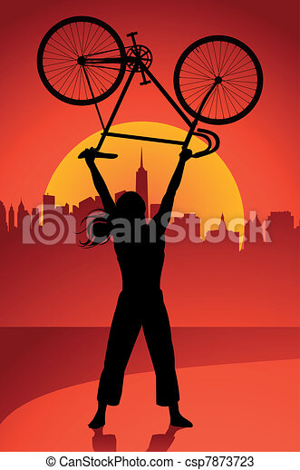 Fixed gear bicycle rider - csp7873723