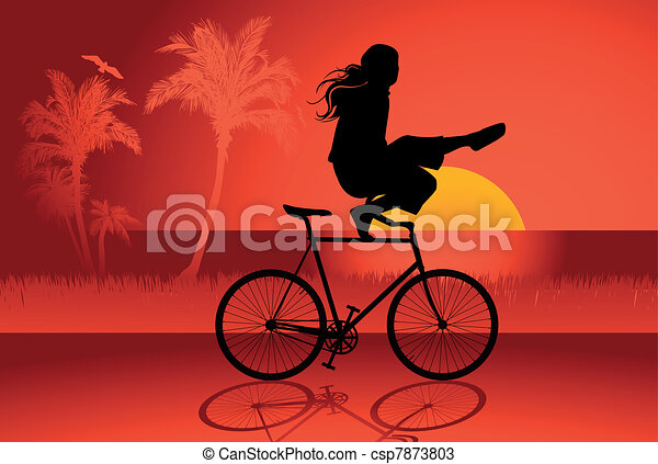 Fixed gear bicycle rider - csp7873803