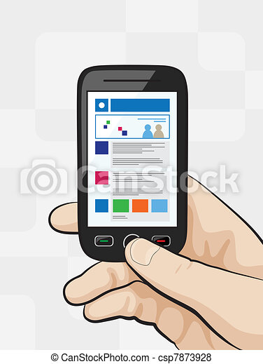 Smart phone with mobile website concept - csp7873928
