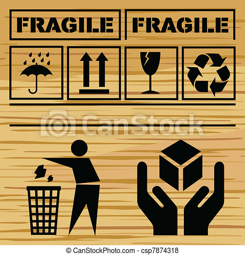 Safety fragile icon set vector - csp7874318