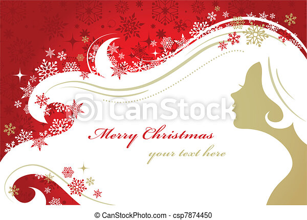 Christmas red background with woman silhouette - csp7874450