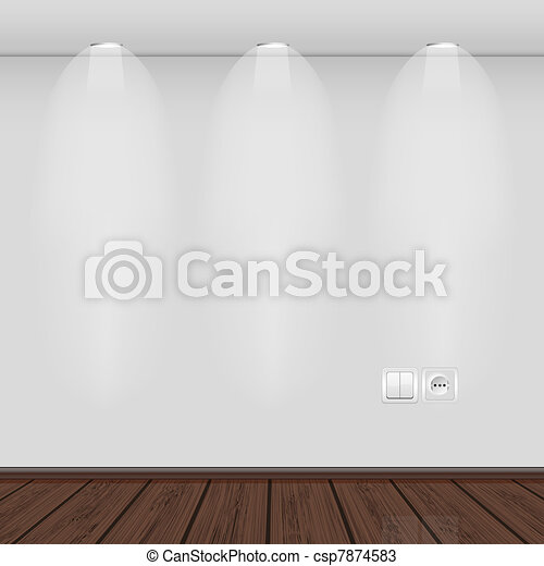 interior with empty wall and parquet.vector illustration. Best choice - csp7874583