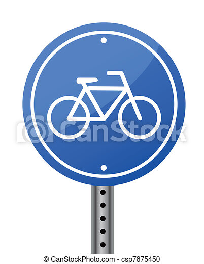 Blue bike road street sign on white - csp7875450