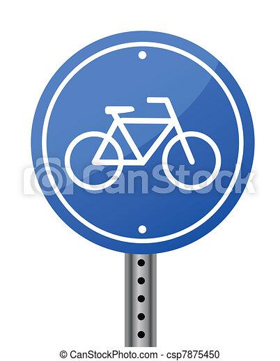 Blue bike road street sign on white - csp7875450