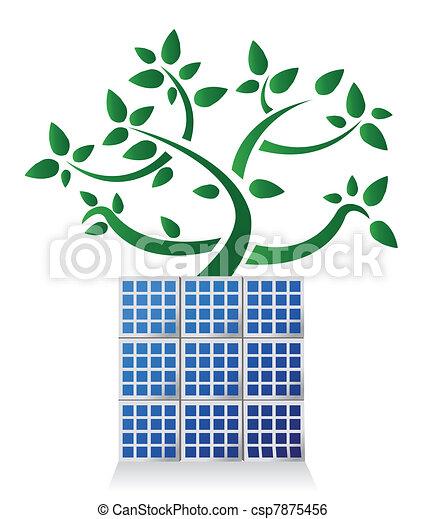 Solar panel plant illustration - csp7875456