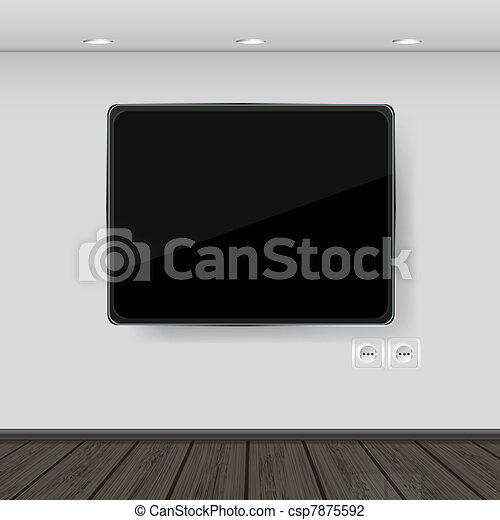 interior. wall with tv and parquet. - csp7875592