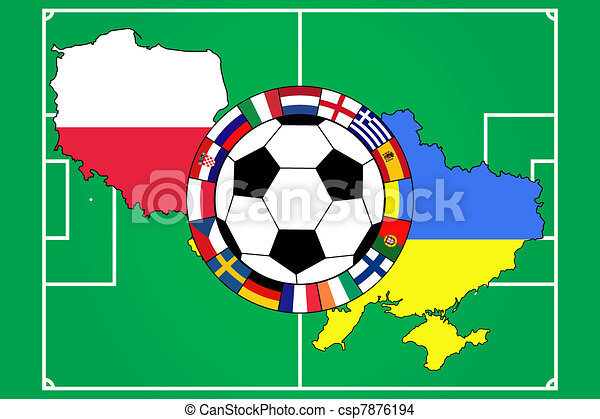 football ball with contours of Poland and Ukraine - csp7876194