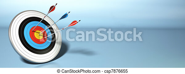 one arrow hitting the center of a target, two red ones failed to reach their objective, horizontal banner - csp7876655