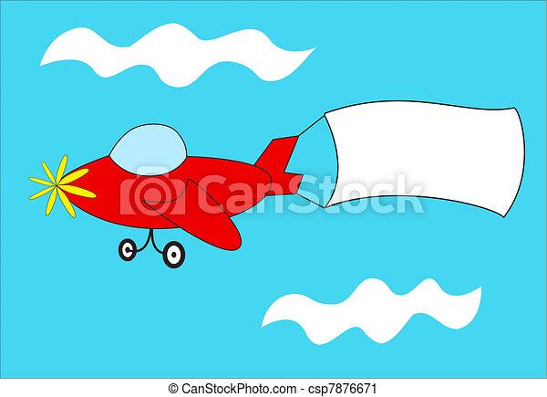 Red airplane pulls blank banner - csp7876671
