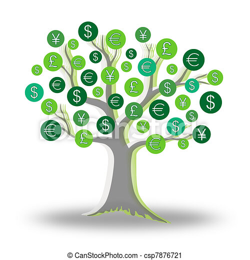 Money green tree growing currency - csp7876721