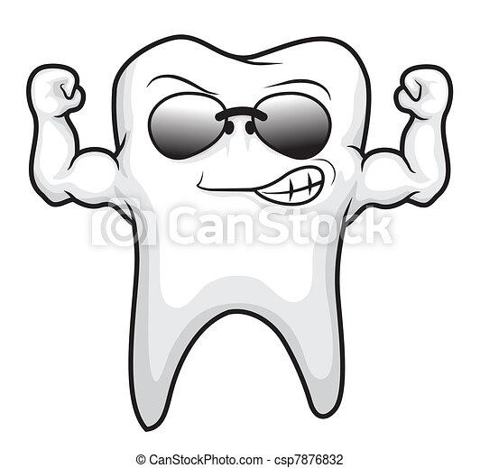 tooth strong cartoon  - csp7876832