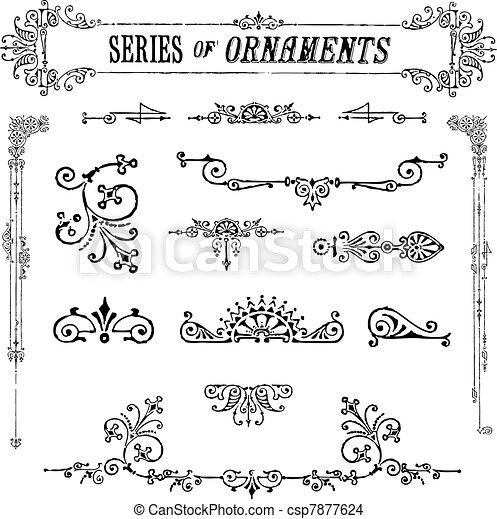 Vector Series of Vintage Ornaments - csp7877624