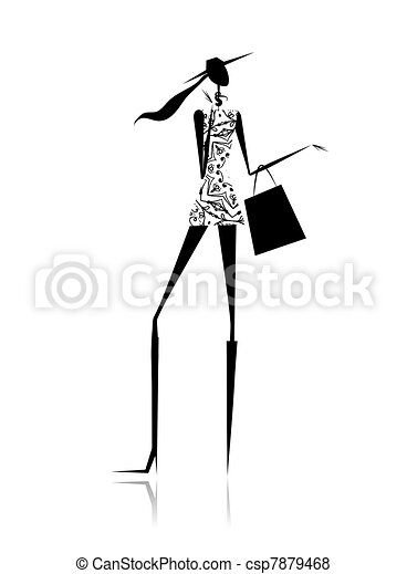 Fashion girl silhouette with shopping bag - csp7879468