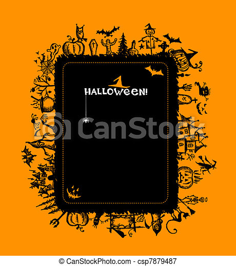 Halloween frame for your design - csp7879487