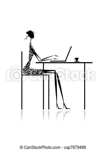 Fashion girl silhouette with laptop in cafe for your design - csp7879488