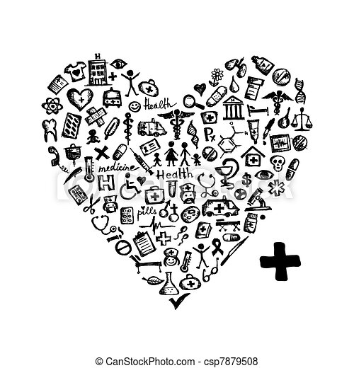 Heart shape with medical icons for your design - csp7879508