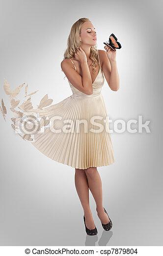 美しい, 蝶, 女の子, 服 - csp7879804
