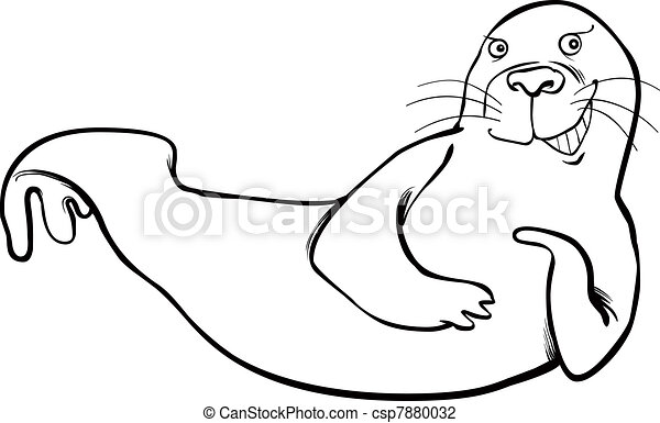 funny seal coloring page - csp7880032