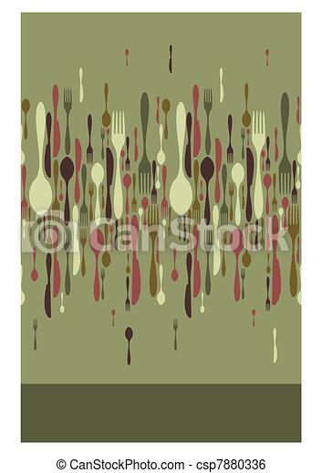 Restaurant menu cutlery pattern - csp7880336