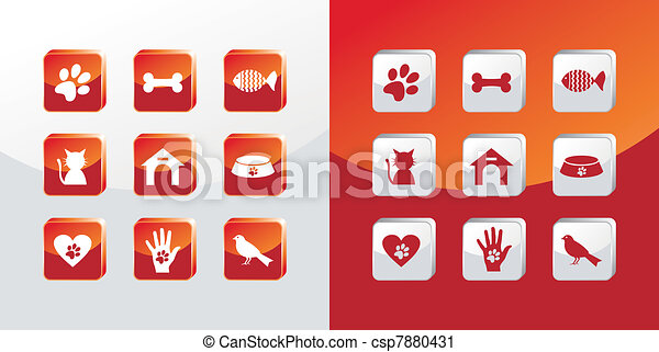 Pet care icons set - csp7880431