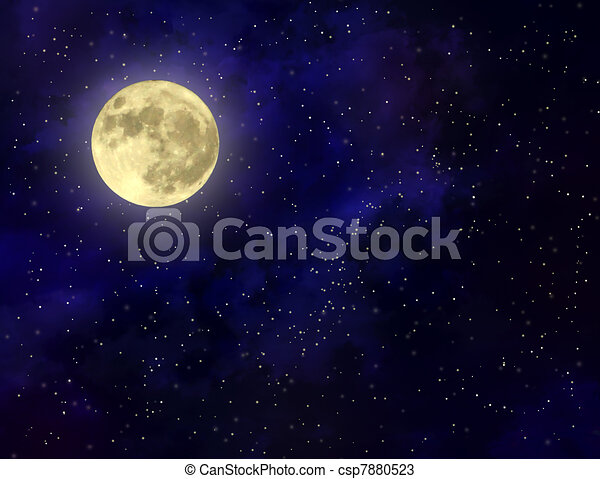 Full moon illustration - csp7880523