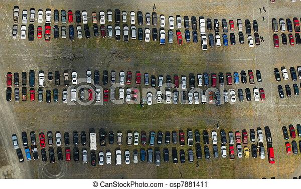 car, aéreo, lote, estacionamento - csp7881411
