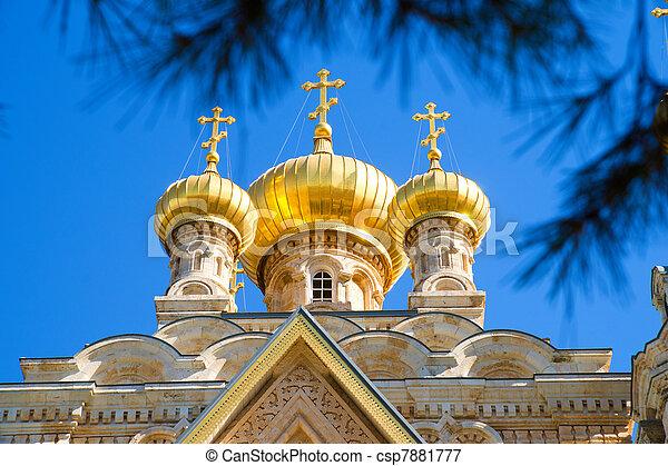 Cupola of Maria Magdalena church in Jerusalem - csp7881777