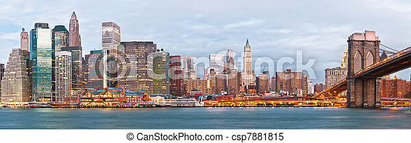 NY - Manhattan over the river early morning - csp7881815