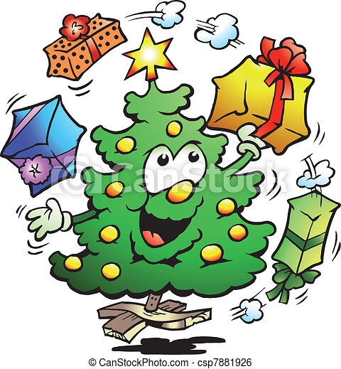 Christmas Tree Who Juggle Gifts - csp7881926