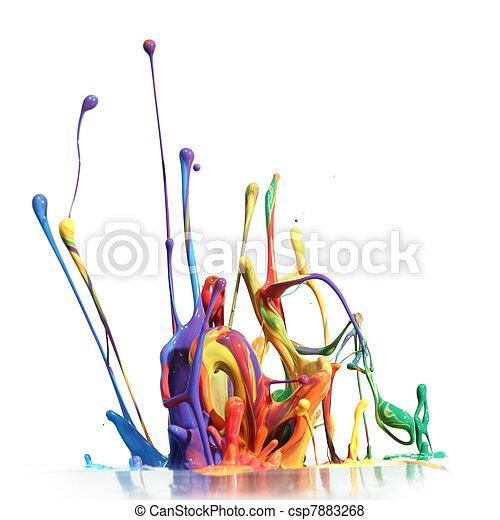 Colorful paint splashing isolated on white - csp7883268