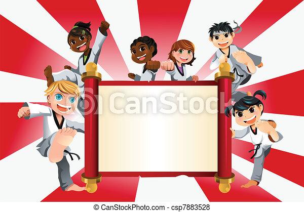 Karate kids banner - csp7883528