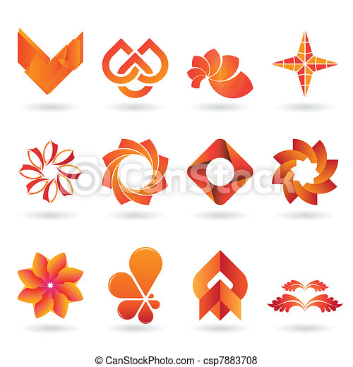 Contemporary Orange Logo and Icon Collection - csp7883708