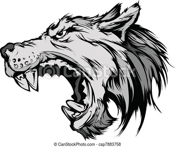 loup tribal stickers Banque vecteur, loup, tête, animé   mascotte,  d Vecteur dessin